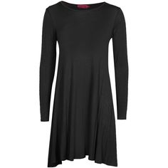 Boohoo April Long Sleeve Swing Dress ($20) ❤ liked on Polyvore featuring dresses, henley dress, tent dress, rayon dress, boohoo dresses and trapeze dress