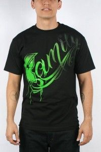 Famous Stars and Straps Men's Family Fade Tee, Black/Lime, Large