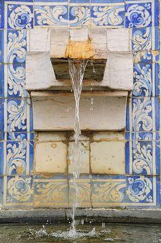 Fountain and Azulejo tiles, Monastery of São Vicente de Fora. Lisbon, Portugal by ruireb