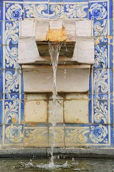 Fountain and Azulejo tiles, Monastery of São Vicente de Fora. Lisbon, Portugal by ruireb