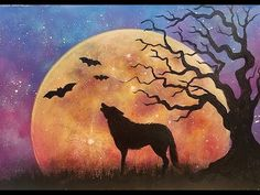 MOON Rising Landscape Night Sky with Wolf & Tree Beginner Acrylic Painting Tutorial LIVE - YouTube