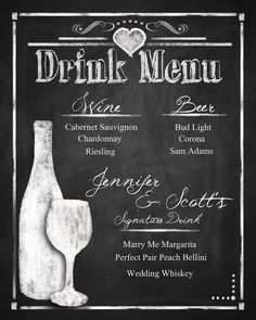 Custom Chalkboard Wedding Drink Menu choose your by PSPrintables