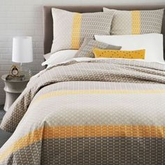 West-Elm-WOVEN-TILE-STRIPE-FULL-QUEEN-Duvet-Cover-2-EURO-SHAMS-NEW