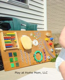 Play At Home Mom LLC: Homemade sensory board - I think it, Daddy builds it. Diy Sensory Board, Sensory Wall, Sensory Rooms, Baby Sensory, Sensory Activities, Infant Activities, Activities For Kids, Sensory Tubs, Motor Activities