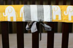Rail Pads in Yellow Elephants by ellenadedesign on Etsy, $40.00