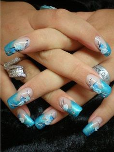 Blue acrylic nails designs