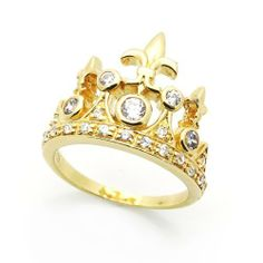 Sterling Silver Gold Plated Silver CZ Crown Ring Double Accent. $25.99