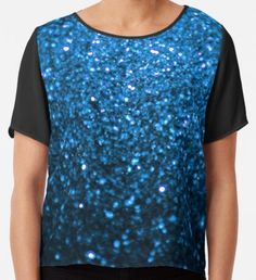 Sparkling Blue Glitter  Chiffon Top Watercolor Circles, Watercolor Pattern, Yellow Art, Blue Art, Mermaid Art, Blue Glitter, Wearable Art, Chiffon Tops, Classic T Shirts