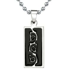 4004c7ee8986 Natural Beauty  Titanium   Black Enamel Tribal-style Tattoo Pattern Dog Tag  Pendant on a Stainless Steel Ball Chain Peora.  24.99. Save 67%!