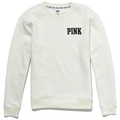 Victoria's Secret Boyfriend Crew ($30) ❤ liked on Polyvore featuring tops, hoodies, sweatshirts, sweaters, shirts, crewneck sweatshirt, oversized shirt, white boyfriend shirt, pattern shirt and white sweatshirt