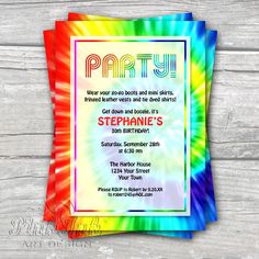 tie dye retro 1960s editable pdf party invitation kids adult birthday anniversary special occasion digital diy printable