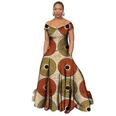 Women's Stylish African Print Dress Split Off Shoulder Mermaid Formal Prom African Print Dresses, African Print Fashion, Africa Fashion, African Fashion Dresses, Ethnic Fashion, African Dress, Look Fashion, Ankara Fashion, African Prints