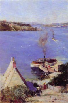 Arthur Streeton: 'McMahon's Point Ferry' Oil on canvas. Landscape Art, Landscape Paintings, Landscape Photography, Australian Painting, Australian Artists, Sir Arthur, Historical Images, Inspiring Art, Impressionist