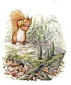 Tale of Squirrel Nutkin 19~Playing Ninepin~Beatrix Potter~Cross Stitch Pattern #StoneyKnobFarmHeirlooms #Frame