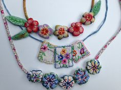 fiber necklaces using vintage fabric | Mary Stanley | Flickr