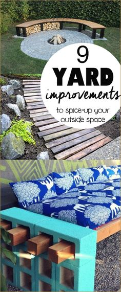 9 Yard Improvements.  DIY landscape and additions that will spice up your outdoor space.  Create spaces that you'll want to relax and enjoy the sunset.  Cool yard projects to make your house look good.
