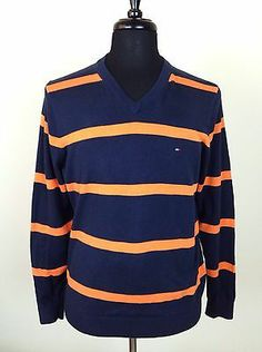 TOMMY HILFIGER Mens V-Neck Striped Pullover Sweater Jumper M Blue Orange Cotton