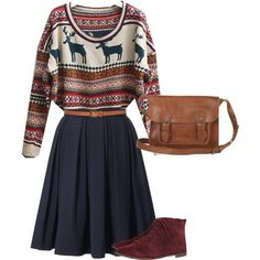 A fashion look from July 2012 featuring long sleeve tops, blue skirt and leather booties. Browse and shop related looks.