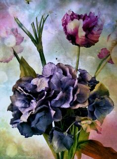 Purple Hydrangeas with Peonies, into the ether. Androidography by AlyZen Moonshadow