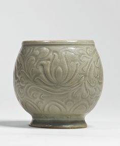 A 'Yaozhou' celadon carved jar, Song Dynasty China : More At FOSTERGINGER @ Pinterest