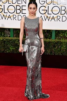 The Boldest Looks From This Year's Golden Globes Red Carpet #refinery29  http://www.refinery29.uk/2016/01/100855/golden-globes-2016-red-carpet-best-dressed#slide-24  Jane Wu - More texture; more metallics. Actress Jane Wu's THEIA dress proves exactly what we've known all along: more is more....