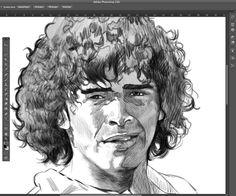 Maradona: The sketch of the legend by Jesús R. Sánchez, via Behance