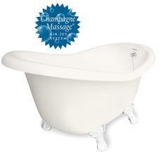 "American Bath Factory Champagne Marilyn 67"" Bisque AcraStone Tub & Drain , 7"" Faucet Holes"