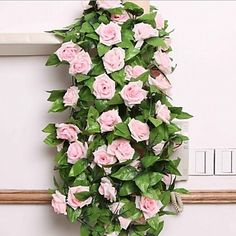 240cm+Set+of+9+Flowers+Rose+Flower+Rattan+Silk+Cloth+Flowers+–+NZD+$+4.69
