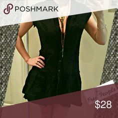 """Free People Semi-Sheer Tunic Top Sheer black military look button down tunic top, great for layering or could also be used as a swim cover up. Very versatile. Size small. 29.5"""" long, 18"""" across chest. 100% cotton.  #freepeople #military Free People Tops"""