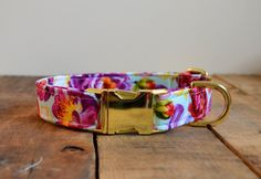 """Dog Collar-ALL SIZES-Gold Metal Buckle, 1 inch- """"Betty"""" Floral, Rose Fabric-Girl"""