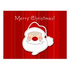 #cute - #Cute Santa Claus Face Merry Christmas Postcard