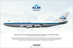 "KLM Royal Dutch Airlines ""Mississippi"" Boeing 747-206B PH-BUA Airliner Profile Art"