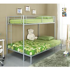 Make your child's bedroom more functional with this twin/double bunk bed. Featuring a sturdy metal-crafted frame with a powder-coated silver finish, this bed includes guardrails and a ladder. The twin and double bed sizes add versatility and comfort.