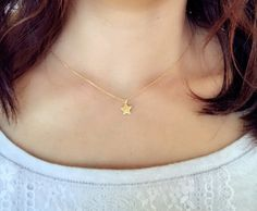 18K Gold filled dainty star charm star cutout charm necklace