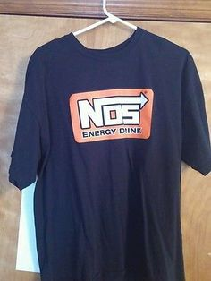Nos Energy Drink XL 100% Cotton Shirt Black Orange