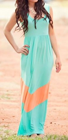 Mint + Peach Maxi  would be easy to appliqué the chevron onto a current dress or skirt