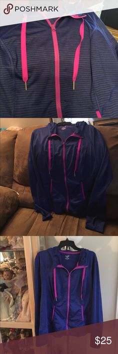 Lukka Jacket blue and black stripes Pink accents blue and black stripes has holes in arms for hands new condition. lukka Other