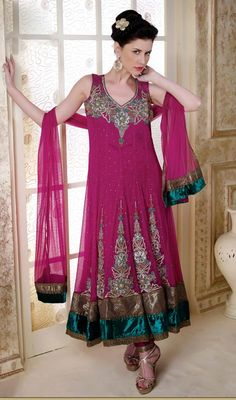 Pink Embroidered Net Anarkali Suit Price: Usa Dollar $348, British UK Pound £203, Euro256, Canada CA$370 , Indian Rs18792.