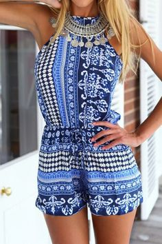Sexy Round Collar Sleeveless Printed Hollow Out Women's Romper #Print #Romper #Fashion #Women #Dress #Style
