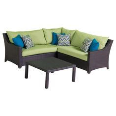 RST Brands Deco 4-Piece Patio Sectional Seating Set with Gingko Green Cushions - OP-PESS4-GNK-K - The Home Depot