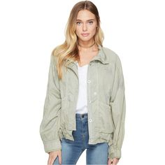 Free People Parachute Jacket (Green) ($60) ❤ liked on Polyvore featuring outerwear, jackets, green, white jacket, pocket jacket, light weight jacket, straight jacket and collar jacket