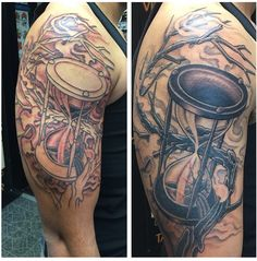 One of my recent tattoos I've gotten. The story behind it is a big part of my life and actually changed my life during my 2nd deployment. All 6 members of the unit I was deployed with have their own version of an hourglass tattooed on them recently as well.