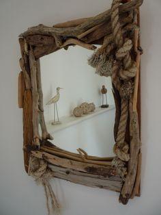 Driftwood mirror, Magnolia Cottage Driftwood Seahorse, Driftwood Mirror, Diy Mirror, Driftwood Furniture, Driftwood Projects, Diy Projects, Mermaid Bathroom, Sticks And Stones, Coastal Art