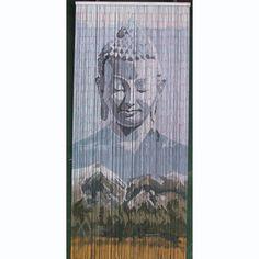 Beaded Door Curtains – Mountain Buddha. Mountain Buddha is a 90 x 200cm Small Bead Door Curtain featuring a meditating Buddha above a majestic mountain scene.