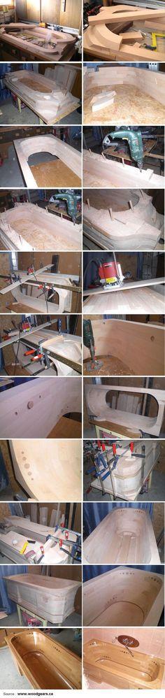 Mitja Narobe's wooden bathtub build