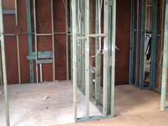 The internal framework for the ensuite and walk in robe are built in and the plumber and electrician rough in. House Lift, Walk In Robe, Queenslander, Plumbing, Building, Home Decor, Robe, Decoration Home, Room Decor