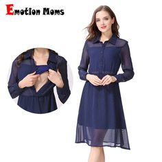 94af7ecec6f Emotion Moms Long Sleeve Nursing Dress Breastfeeding Dresses for Pregnant  Women Maternity Dress Clothing Summer spring