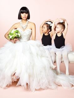Dress: Val Stefani, Style 8074 Necklace: Shay Lowe for Kleinfeld Hudson's Bay Shoes: Nine West Ballerina's hair flowers: Wedding Studio Reena Green Flowers: Mila Flowers