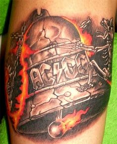 "AC/DC ~ Hells Bells tattoo.  ""Little Dave"" would like this, since he wants this song played during his memorial service, someday. I wish he had an EM address."