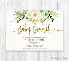 Neutral floral Baby Shower Invitation, Brunch For Baby Invitation, baby girl invites, boho baby shower, white and gold floral invitation